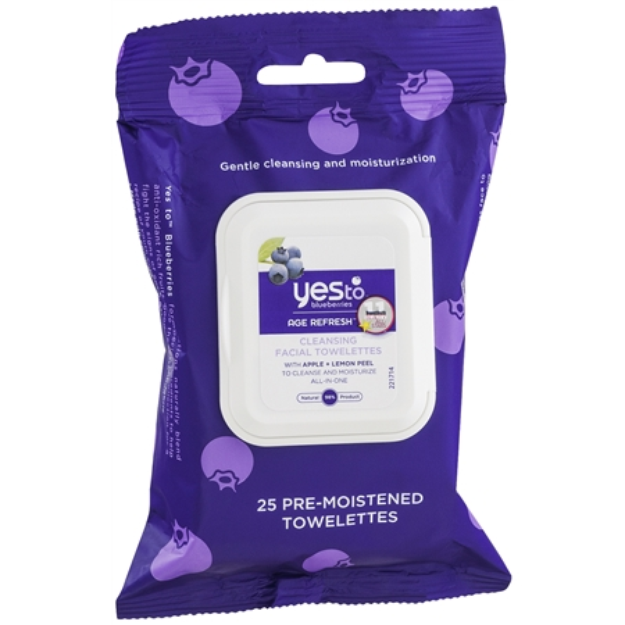 Yes to Blueberries Age Refresh Facial Towelettes, 25 ea