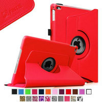 Fintie iPad Air 2 Case - 360 Degree Rotating Stand Case with Smart Cover Auto Sleep / Wake Feature, Red