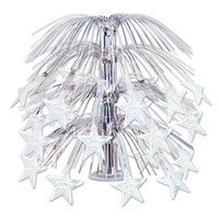 Party Central Club Pack of 6 Solid Shimmering Silver Star Cascading Party Centerpiece Decorations 18