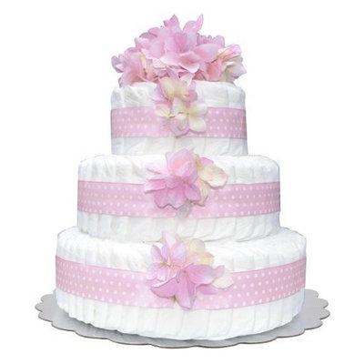 Bella Sprouts Diaper Cake, Three Tier, Pink/White