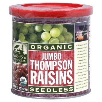 Woodstock Farms Organic Jumbo Thompson Raisin, 15 Ounce -- 12 per case.