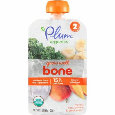 Plum Organics Grow Well Bone Organic Mango, Kale, Banana & Greek Yogurt Stage 2 Organic Baby Food, 3.5 oz, (Pack of 12)