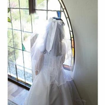 Angels Garment Girls White Floral Crystal Beads Satin Bow Bridal Veil