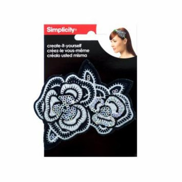 Bulk Buys Wm415 Simplicity Embroidered Sequin Flower Headband Accent Pack Of 24