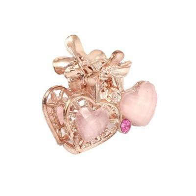 Women Faux Rhinestone Decor Heart Pattern Hair Claw Clip Jaw Hairpin Light Pink