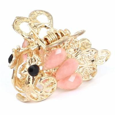 Women Faux Rhinestone Accent Peacock Pattern Hair Claw Clip Jaw Hairpin Pink