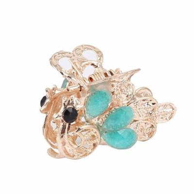 Women Faux Rhinestone Accent Peacock Pattern Hair Claw Clip Jaw Hairpin Blue