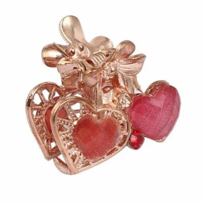 Women Lady Faux Rhinestone Decor Heart Pattern Hair Claw Clip Jaw Hairpin Red