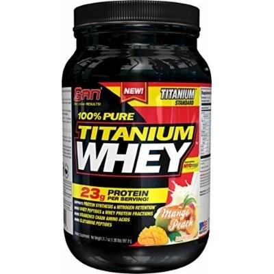 SAN Pure Titanium Whey Protein Powder, Mango/Peach, 2 Pound