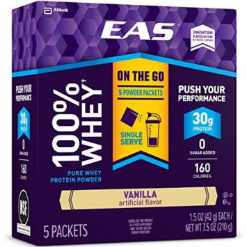EAS 100% Whey Protein Powder Packets, Vanilla, 30 Count