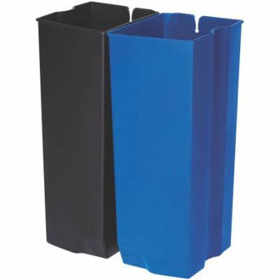 Rubbermaid Commercial Front Step Plastic Step-On Rigid Dual Liner for Stainless, 24 gallon, Black/Blue
