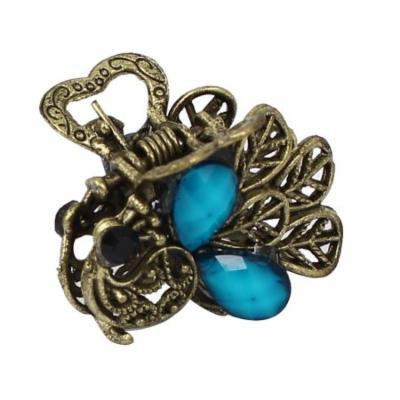 Women Lady Faux Rhinestone Accent Peacock Design Hair Claw Clip Jaw Hairpin Blue