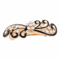 Women Rhinestones Inlaid Black Floral Accent French Hair Barrette Clip Gold Tone