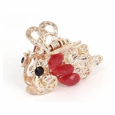 Women Lady Faux Rhinestone Accent Peacock Pattern Hair Claw Clip Jaw Hairpin Red