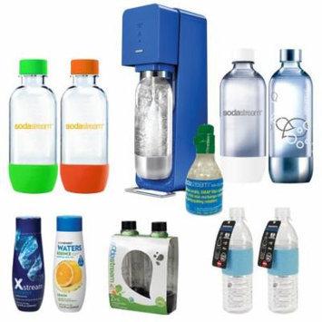 SodaStream Source Soda Maker(Metal) in Blue with Exclusive Kit w/ 4 Bottles & Starter CO2, 1L Carbonating Bottles Black, 2x Hydra Bottle Blue, Xstream Energy Drink & Water Essence w/ Lemon Flvr