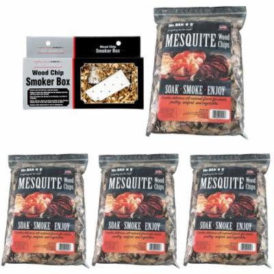 Mr. Bar-B-Q Wood Chip Smoker Box with Lid and 4 Bags of Mesquite Chips