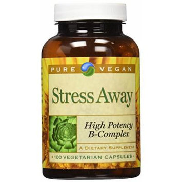 Pure Advantage Vegan Stress Away High Potency B-Complex Veggie Capsules, 100 Count