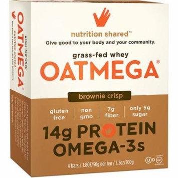 Oatmega Brownie Crisp Protein Bars, 1.8 oz, 4 count, Gluten-Free, Soy- Free, Egg-Free, Omega-3s, 5g of Sugar