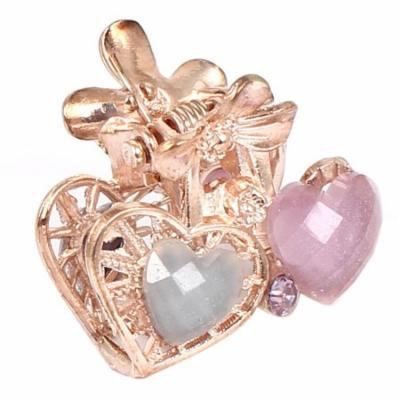 Lady Faux Rhinestone Decor Heart Pattern Hair Claw Clip Jaw Hairpin Light Purple