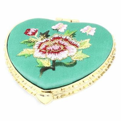 Silk Embroidery Heart Shape Folding Pocket Makeup Cosmetic Mirror Turquoise