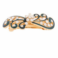 Women Rhinestones Inlaid Green Floral Accent French Hair Barrette Clip Gold Tone