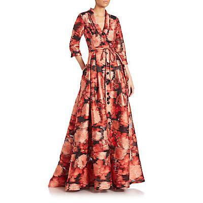 Carolina Herrera Silk Fil Coupe Jacquard Trench Gown - Cayenne