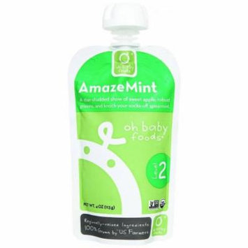 Oh Baby Foods Organic AmazeMint Level 2 Baby Food, 4 oz, 6 count