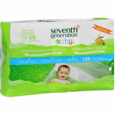 Seventh Generation Baby Free & Clear Baby Wipes, 128 sheets, (Pack of 6)