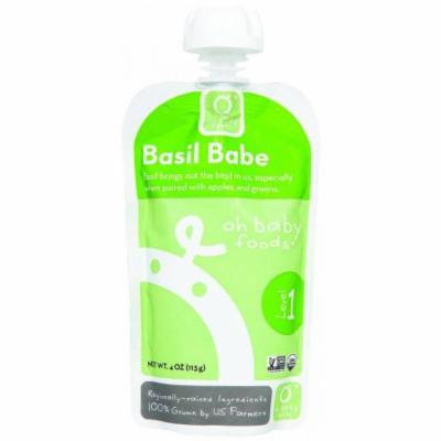 Oh Baby Foods Organic Basil Babe Level 1 Baby Food, 4 oz, 6 count