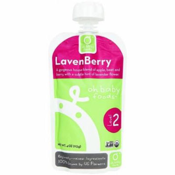 Oh Baby Foods Organic LavenBerry Level 2 Baby Food, 4 oz, 6 count