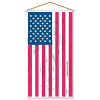 Party Central Pack of 12 Shiny Patriotic American Flag Door or Wall Panel Hanging Decoration 60 x 30