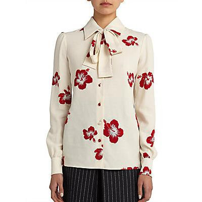 Saint Laurent Floral Collar Lavalliere Blouse