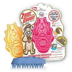 Kong Company Zoom Groom Firm Rubber Dog Brush Raspberry