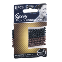 Goody ColourCollection No Metal Elastics Black - 8 CT