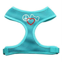 Mirage Pet Products 7017 SMAQ Peace#44; Love#44; Bone Design Soft Mesh Harnesses Aqua Small
