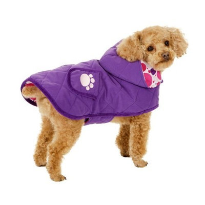 Fashion Pet Blanket Coat for Dogs, Purple Quilted Paw, Small