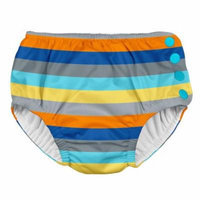 Iplay Baby Boys Pool Approved Absorbent Cloth Reusable Swim Diaper Bathing Suit Grey Blue Striped 6 Months