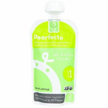 Oh Baby Foods Organic Pearfecto Level 1 Baby Food, 4 oz, 6 count