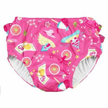 Iplay Baby Girls Ruffle Swimsuit Pool Approved Absorbent Cloth Reusable Swim Diaper Bathing Suit Hot Pink Cabana 18 Months