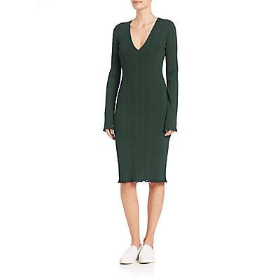 Calvin Klein Collection Barbie Ribbed Long-Sleeve Dress - Black Gree