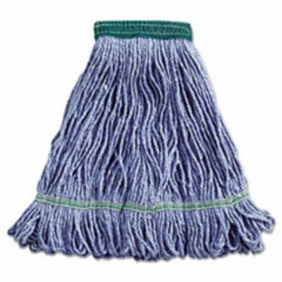 Super Loop Wet Mop Head, Cotton/Synthetic, Medium Size, Blue, 12/Carton 502BLCT