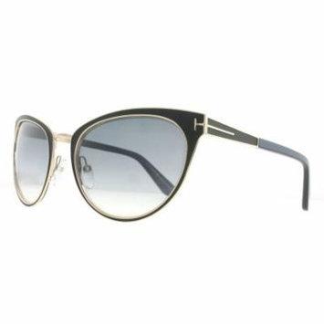 Tom Ford TF 373 NINA 01B Matte Black/Purple/Gold Cat Eye Womens Sunglasses