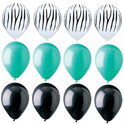 Franz ZEBRA Stripes PRINT Black AQUA Green 12 Piece Latex Helium Party Balloons Set