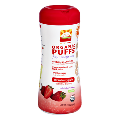 HappyBaby Organic Gluten Free Finger Food for Babies Strawberry Puffs