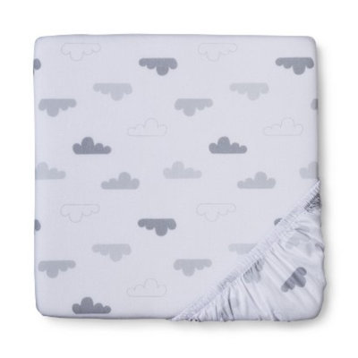 Woven Grey Clouds Fitted Crib Sheet by Circo