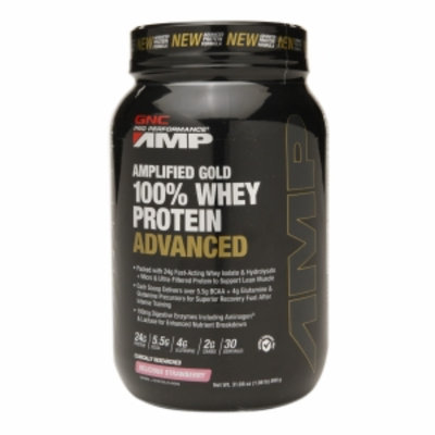Gnc Pro Performance Amp GNC Pro Performance AMP Amplified Gold 100% Whey Protein Advanced, Delicious Strawberry, 1.98 lbs