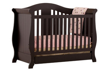 Stork Craft Vittoria 3 in 1 Fixed Side Convertible Crib - Black
