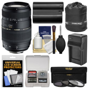 Tamron 70-300mm f/4-5.6 Di LD Macro 1:2 Zoom Lens with NP-FM500H Battery & Charger + 3 Filters + Lens + Kit for Sony Alpha DSLR SLR-A57, A58, A65, A77 II, A99 Cameras