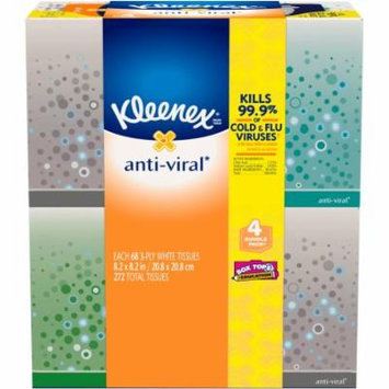 Kleenex Facial Tissues, Anti-Viral, 68 Sheets, Pack of 4 (Designs May Vary)