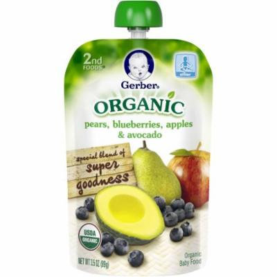 Gerber Organic 2nd Foods Pears, Blueberries, Apples & Avocado Baby Food, 3.5 oz Pouch (Pack of 12)